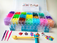 Wholesale 6000pc Rainbow rubber bands rainbow looms kit loom Box rubber band kit S clips Hook and Removable loom Beautiful storage box