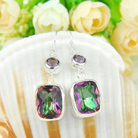 Wholesale Luckyshine Newest Christmas Day pieces silver plated small and exquisite Mystic topaz crystal Earring jewelry E122