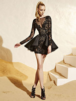 Cheap Zuhair Murad Dresses 2014 New Fashion Elegant Sexy Long Sleeve Black Beading Beaded Short Evening Prom Party Gown Special Occasion