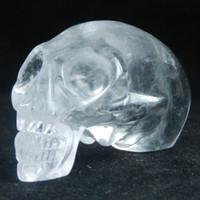 Carved quartz crystal skull - 2 quot White Quartz Carved Alien Crystal skull Maya realistic skull