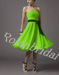 Wholesale 2014 lime green purple bridesmaid dress under actual image simple strapless zipper at back wedding party gowns with black band