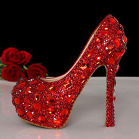 Cheap Custom Made Free Shipping Red Crystal Beaded Prom shoes Beaded Bridal Evening Prom Party High Heels Wedding Shoes 2014
