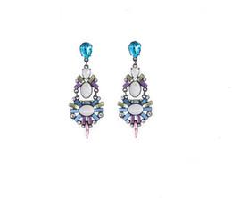 Crystal Rhinestone Flower Shourouk Earring idealway Fashion European Style Gun Black Alloy