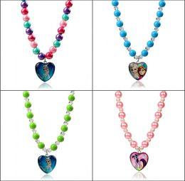 Wholesale 2014 New Frozen Princess Elsa Anna crystal beaded necklace Girl princess Jewelry Froze peach heart Pendant chrismas jewelry gift