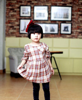 koran - Girl Plaid Long Sleeve Dress autumn Koran Kid s Leisure Pleated Dresses Girls O neck Collar Dress Green Coffee Children Clothing I1829