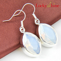 Wholesale Luckyshine New Arrive Christmas Gift pieces silver plated Simple and generous Moonstone Glass crystal Earring jewelry for lady E070