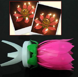 Wholesale Romantic Blossom Lotus Flower Candle Birthday Party Cake Musical Candle Music Sparkle Waterproof Candle flame The best birthday present