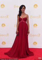 Wholesale 2014 The th EMMYS Celebrity Dresses Shaun Robinson On The Red Carpet Glamorous Red Empire A Line Sweetheart Neck Sleeveless Sweep Train