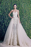 Reference Images Spaghetti Straps Lace 2014 New Zuhair Murad Wedding Dresses Sweetheart See Through Detachable Skirt Wedding Dress Sexy Fashion Bow Belt Bridal Gown