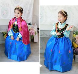 Wholesale Robe de princesse d Anna de robe de nouvelle de frozen de style de vente au détail robe de filles manteau rouge vêtements de babykids de costume d Anna style