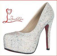 Cheap Big Size 34-42 prom sex high heels wedding shoes women crystal high heel woman shoes platforms silver rhinestone pumps shoes