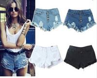 Women Straight Regular new 2014 for Women vintage High waist shorts jeans feminino Hole short Ripped jeans denim female distress cutoffs shorts B46522
