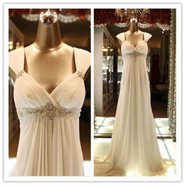 Wholesale Real Images V Neck A Line Wedding Dresses Beaded Pregnant Woemen Dresses Sweep Train Cap Sleeve Chiffon Prom Evening Gown For Party