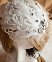 Fascinators Rhinestone/Crystal Tiaras&Crowns 2014 Popular White Feather Wedding Bridal Hair Accesories In Stock Sparkle Crystal Rhinestone Wedding Hair Accessories Made In China WX