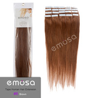 Wholesale Emosa Brown g Tape PU Feather Hair Remy Human Hair Extensions Real Brazilian Hair Silky Soft Natural Hair