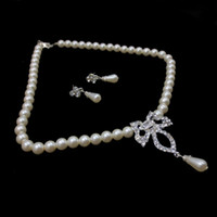 Cheap Hot Selling High Quality Clear Crystal Rhodium Plated Promotion Costume Drop Pearl Jewelry Set 2set lot Free Shipping