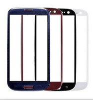 Wholesale For Galaxy S3 Blue Front Glass Lens Glass Digitizer Cover Outer Screen Cover Replacement for Samsung Galaxy S3 I9300