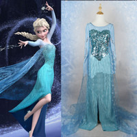 Wholesale Details about Movie Frozen Princess Elsa Dress Cosplay Costume Adult Women Fancy Dress Sz XXL