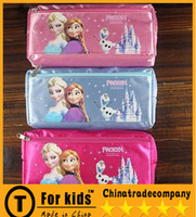 Wholesale Frozen Elsa Anna cartoon wallet change pocket Frozen purse FROZEN ELSA Anna pen bag of pencil case students pen boxes Double receive bag