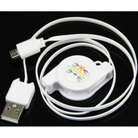 For Samsung   Retractable Flexible Micro USB USB 2.0 Power Charging Hotsync Cable for Mobile Smart Phone samsung s5 s4 note 3 4 Free shipping 100pcs DHL