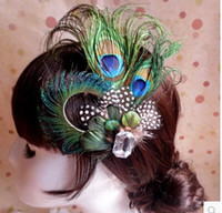 Fascinators unique hair accessories - Unique Elegant Wedding Bridal Hair Accesories In Stock Peacock Feather Hot Sale Wedding Hair Accessories Made In China WX