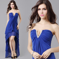 Wholesale New Arrive Dress Royal Blue Chiffon Dress Sexy V neck Pleated Ruffles High Low Graduation Dresses AX66309
