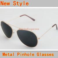 10X Позолоченные Новый стиль Металл перфорационные очки Упражнение Natural Healing зрение Улучшение Безопасный Свободная перевозка груза