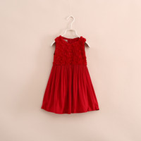 TuTu Summer A-Line Wholesale new 2014 Children autumn winter Christmas Baby Girl Sleeveless Birthday lace Tutu wispy floral red Dresses LY-626Y