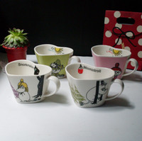 ECO Friendly mugs - DE pc High quality porcelain heart shaped ceramic cups Moomin Rousseaulove cartoon Humic mug beautiful lovely gift