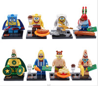 Wholesale Spongebob Big Star Crab Boss Squarepants Figures Building Blocks Toy DIY Bricks Toys For Children