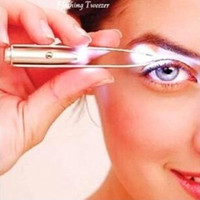 Wholesale Xmas Gift Mini LED Light Eyelash Hair Removal Eyebrow Tweezers Makeup Cosmetic Kit