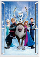 Wholesale PVC Cartoon Frozen Wall Sticker Decorative Window Wall Decal Movie One Direction Poster for Kids frozen stickers Room