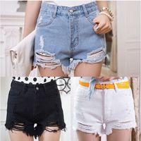 Cheap 2014 Summer Plus Size hole irregular whisker denim high waist shorts pants Ripped Jeans Shorts 3 Colors Size 26-31 #B44507