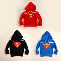 Unisex Spring / Autumn Hooded Neutral Superman Hoodies Sweatshirts 90-130cm Autumn Children Kids Boys Girls Cotton Fleece Jackets Overcoat Outwear Black Red Blue K0998
