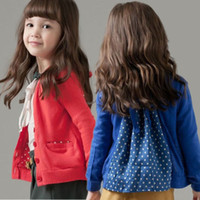 Wholesale Kids Girl Toddler Outwear Jacket Coat Polk Dot Bow Chiffon Autumn Spring Surcoat DH04