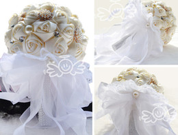 Wholesale Wedding Bouquet Beads Crystal Sparking Bling Bling Luxury Lace Petals Garlands Hand Made Flowers Artificial Pearls Elegant Bridesmaid Pure