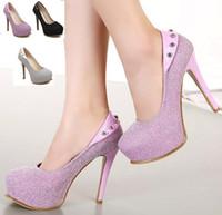 Women ball platform shoes - glitter rhinestone lilac pumps silver wedding shoes fashion high heel platform shoes debutante ball dress shoes size to WX