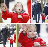 Wholesale Hooded Fur Cotton Jackets Kids Girls Christmas Day Fashion Red Black white Warm winter Baby girl outwear