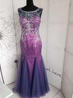 Real Photos Scoop Tulle Lavender Stunning Sexy Make the picture neckline Tulle Crystals Beading Backless Mermaid Cap sleeves Sweep Train Evening Gowns Prom Dresses