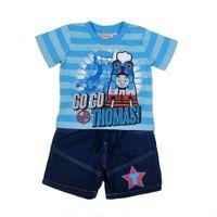 Wholesale Boys Cartoon Outfits Set Children Summer Clothing Y Y piece Short Sleeve Blue Striped Train T Shirt Denim Jeans Shorts Pants Suits