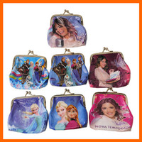 Wholesale 2014 Girls D Cartoon Frozen Coin Purse with iron button Anna Elsa Olaf shell bag wallet Purses children child Gifts For Holidays
