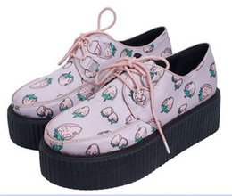 Wholesale fashion pink strawberry high platform lace up women casual shoes Aod HARAJUKU street style size to