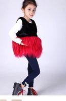 Wholesale 2014 Kids Girls Faux Fur Waistcoats Baby Girl Fluffy Winter Autumn contrast color vest