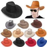 Wholesale Cowboy Hat Suede Look Wild West Fancy Dress Mens Ladies Cowgirl Unisex Hats FX291
