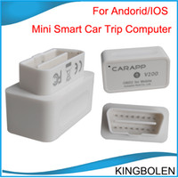Wholesale Mini Smart Car Trip Computer CARAPP V200 Dual System Works With IOS Android Mini OBD II Code reader OBDII super auto diagnostic tool