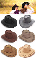 dress hats - Hot Sales Woman Man Cowboy Cowgirl Faux Suede Soft Hat Western Sheriff Fancy Dress Caps Accessory FX291