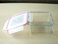 Wholesale 1000ml square tempered and heat resistant glass air tight container with PP cover