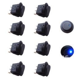 10pcs 12V 16A Blue LED Dot Light Boat Car Auto Round Rocker Toggle Switch SPST