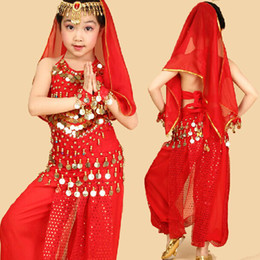 Kids Belly Dance Belly Dance Cloth Children Dancing Wear Performance Stage Costumes Top + Pant + Belt + Bracelet + Veil + Head Chain