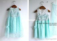 TuTu Summer Ball Gown Wholesale - in stock! 2014 frozen dress girl summer dresses +cotton yarn cloak fashion lace blue princess Elsa dress baby & kids clothing 5p